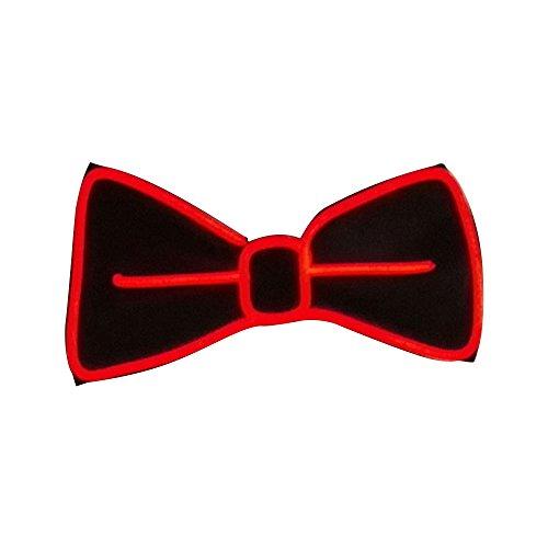 Gladle Leuchten Sie Fliege LED El Draht Krawatte für Party,Rot