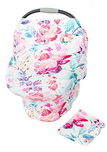Floral Car Seat Canopy Cover, Breastfeeding Cover, High Chair, Shopping Cart Cover - Baby Girl, Baby Shower, Baby Gift