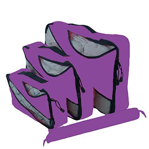 JIER para Maletas Packing Cubes 4 Juegos ltimo Dise?o Incluyen Bolsa de Almacenamiento de Zapatos Impermeable Conveniente Bolsas de Compresi (púrpura)