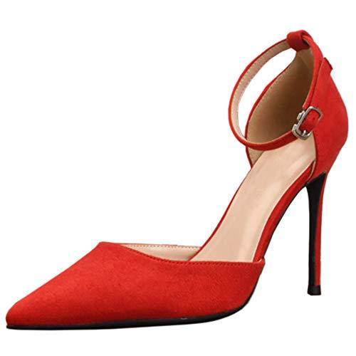 Zanpa Basic Damen Wildleder Pumps Stiletto Heels Büro Dress Schuhe Spitze Cocktail Heels Evening Party Schuhe Red Size 36