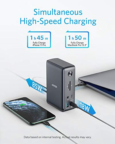 Anker PowerExpand 13-in-1 USB-C Docking Station für USB-C Laptops, Laptop Laden mit 85W, 18W für Smartphones, 4K HDMI, 1Gbps Ethernet, Audio, USB-A Gen 1, USB-C Gen 2, SD 3.0