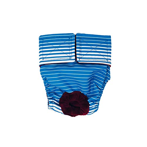 Swim Diapers for Hydrotherapy Dogs - Made in USA - Blue Stripes Waterproof Swim Diaper for Dogs, M, Without Tail Hole
