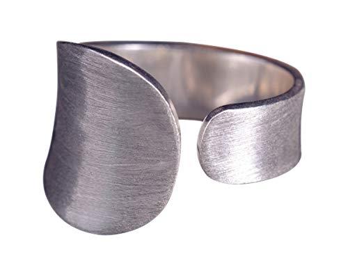 NicoWerk Damen Silberring Schlicht aus 925 Sterling Silber Dezent Oval Gebürstet Matt Verstellbar Offen SRI323
