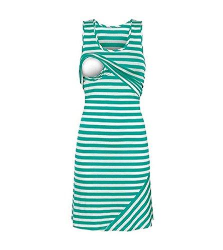Carolilly Damen Schönes Mutterschafts Kleid Umstandskleid Sommer Streifen Kleid Zum Stillen (M, Grün)