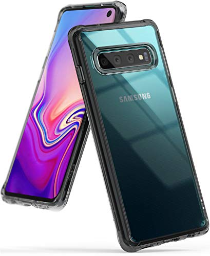 Ringke Fusion Designed for Galaxy S10 (6.1') Crystal Clear PC Back Case Anti-Cling Dot Matrix Technology Lightweight Transparent TPU Bumper Drop Protective Phone Cover for Galaxy S10 - Smoke Black