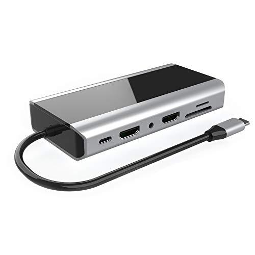 TOOGOO Compatibilidad con HUB USB C 14 en 1 para Dispositivos Concentradores Tipo C de Windows Android USB 2.0 Puertos USB 3.0 VGA LAN Puertos de Tarjeta