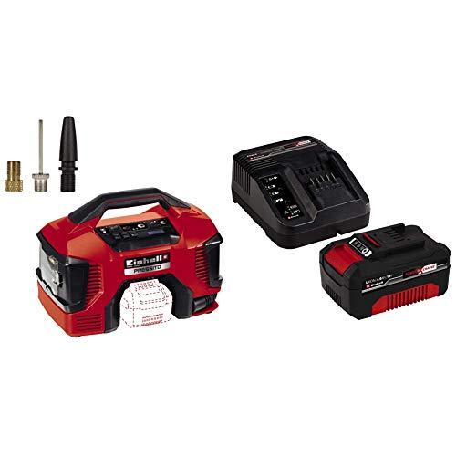 Einhell Compresor Híbrido Pressito Power X-Change (Li-Ion, con cable de corriente o batería recargable; incluye conjunto) + 4512042 Kit con Cargador y batería de repuest, tiempo de carga: 60 Minutos