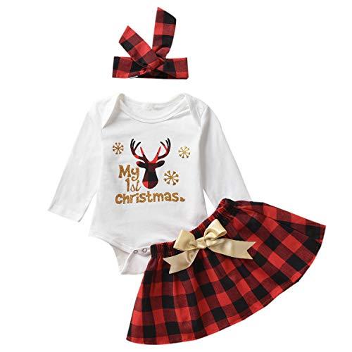 Tianhaik la Gonna di Natale della neonata neonata equipaggia Il Mio Primo Pagliaccetto di Natale + la Gonna di Plaid Rossa + la Fascia