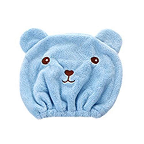Nunubee Serviettes de Douche, Microfibre Cheveux Turban Séchage Rapide Cheveux Chapeau Serviette Enveloppée Bonnet De Bain(Bleu-2 pièces)