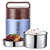 Hukphd 子供の大人のための食品フラスコステンレス鋼の熱スープフラスコ、昼食のためのBPAフリーの断熱容器、ポータブル漏れ防止熱真空ボトル 、オン・ザ・ゴー食事やスナックパッキング (Color : Blue, Size : 1.8L)