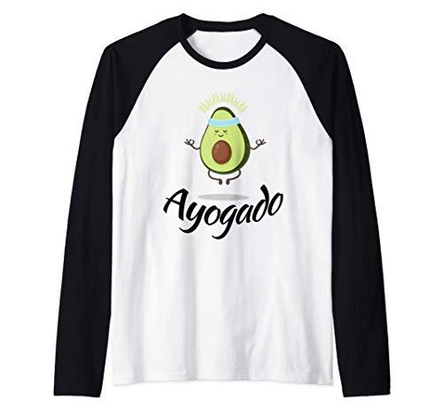 Ayogado - Aguacate para el Yoga - Fruta Espiritual - Pun Camiseta Manga Raglan