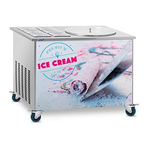 Royal Catering Plancha Para Hacer Helado Tailandés Máquina Ice Roll RCFI-1O-6 (-25 °C, Compresor Panasonic, 1120 W, Ø 50 cm, Incluye 6 contenedores con tapadera)