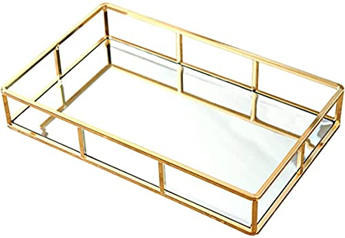MISSLYY Spiegeltablett Gold, Vintage Spiegel Tablett Metall Tablett Verspiegelt Platte Verspiegelt Deko Tablett Spiegel Tablett Rechteckig, Dekotablett als Schminktisch Aufbewahrung