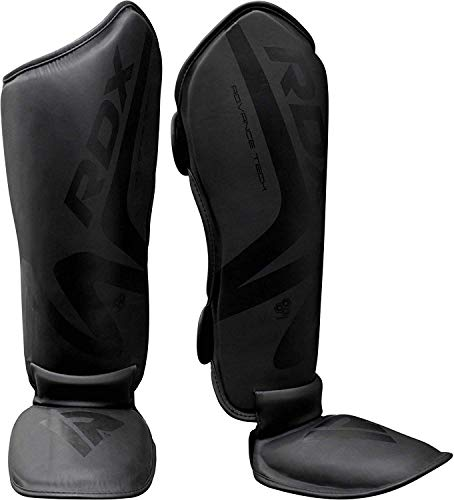 RDX Shin Guards for Muay Thai, Kickboxing, MMA Training and Fighting, Maya Hide Leather Instep Leg Protector Foam Pads for Martial Arts, Sparring, Protective Gear for BJJ and Boxing