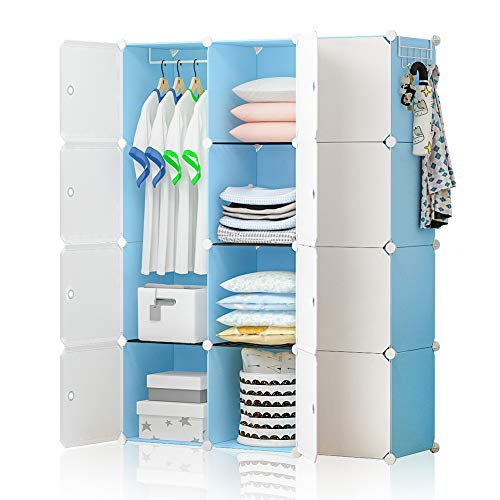 GEORGE&DANIS Portable Closet Wardrobe Plastic Dresser Cube Storage Organizer for Kids Teenagers DIY Bookshelf, Blue, 14 inches Depth, 3x4 Tiers