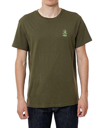 Cheap Monday Standard Tee Line Skull T-Shirt, Verde (Green 402), Large Uomo