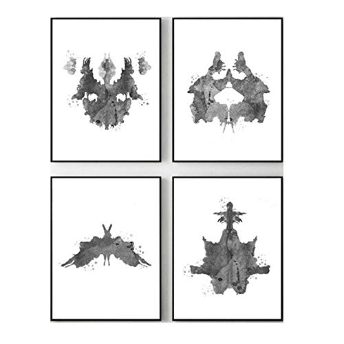 Rorschach Test Aquarell Wand Bilder Leinwand GemäLde Psychologe Geschenk Psychologische Test Poster Und Kunstdrucke Klinik Dekor Home 30x40cmx4 / Ungerahmt