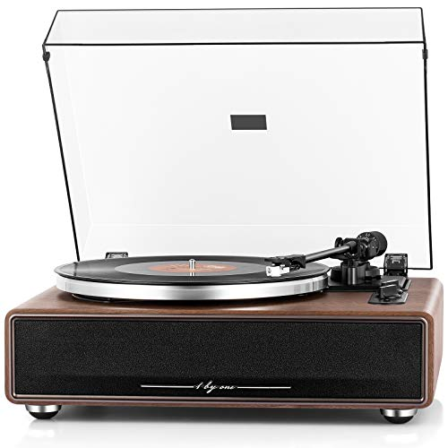 1byone High Fidelity Belt Drive Turntable with Built-in Speakers, Vinyl Record Player with Magnetic Cartridge, Wireless Playback and Aux-in Functionality, Auto Off