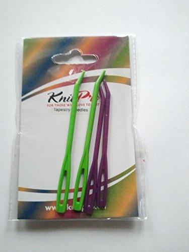 KnitPro 10806 Tapisserienadeln, 2 x grün 2 x lila