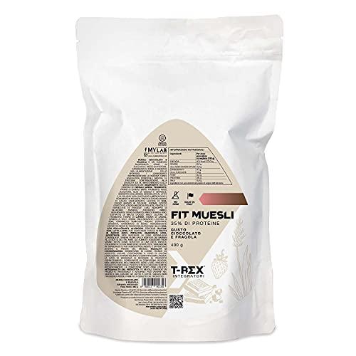 T-Rex Integratori, FIT MUESLI Proteico Croccante 400g Cereali con pezzetti di Cioccolato e Fragole - Con il 35% di Proteine