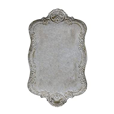 Creative Co-op DA2978 Decorative Metal Tray with Distressed Grey Finish