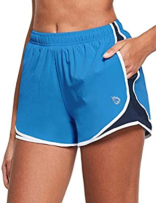 """BALEAF Women's 3"""" Athletic Running Woven Shorts Quick-Dry Gym Sport Workout with Pockets Blue/Navy/White L"""