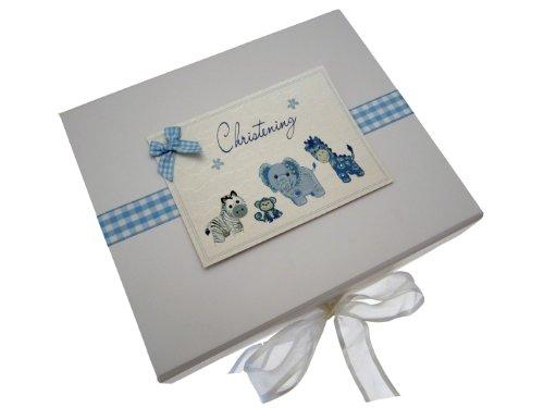 White Cotton Cards herinneringsbox voor de doop, A5, blauw