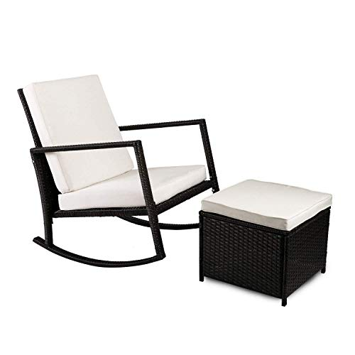LXH-SH Furniture Armed Rattan Wicker Rocking Chair With Cushioned Ottoman Lazy Chair household products