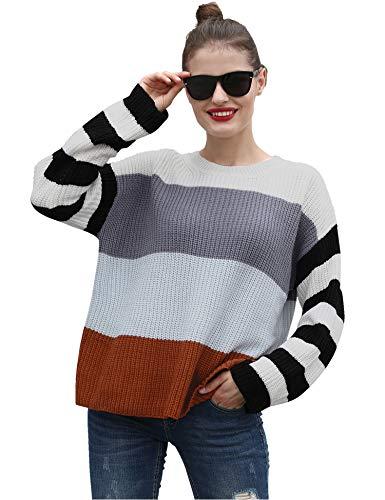 Hawiton Dames Gebreide Truien Trui met Lange Mouwen Casual Top Ronde Hals Blok Kleur Pullover Sweatshirts