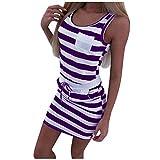 BPQ_W Plus Size Summer Dresses for Women Casual Sleeveless Pocket Mini Pencil Dress with Drawstring Purple