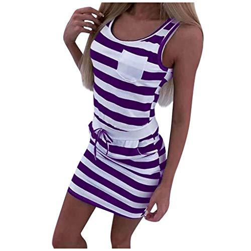 SHINEHUA Damen Kleid Sommerkleid Strandkleid Jerseykleid Freizeitkleid Streetwear Sommer Strand Tank Kleid Casual Ärmellos Strandkleid Knielang Sportliches Streifenkleid