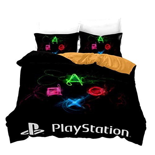 Fgolphd ps4 Playstation Ropa de cama de algodón con funda de almohada, 100% microfibra, impresión digital 3D, funda nórdica general para jóvenes (135 x 200...
