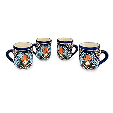 NOVICA Multicolor Hand Painted Traditional Style Mexican Talavera Ceramic Mugs 'A Taste Of Mexico,' 13oz (set of 4)
