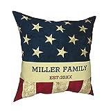 Fundas de almohada, vintage de EE. UU., bandera americana, nombre de familia, rústico, decoración para el hogar, fundas de cojín cuadradas para sofá, sala de estar, cama de 45,7 x 45,7 cm