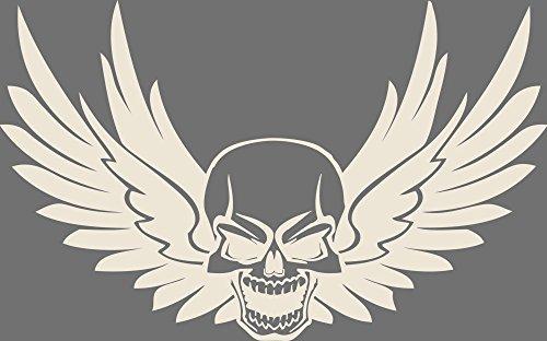GRAZDesign 600200_40_816 Wandtattoo Rockiger Totenkopf mit Flügeln | Wandsticker Wohnzimmer| Tattoo in 47 Farben (64x40cm//816 Antique White)