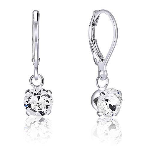 DTPsilver® Semental Pendientes/Aretes - Cierre de palanca - Plata de Ley 925 con Cristal Swarovski® Elements Redondo - Diámetro: 6 mm