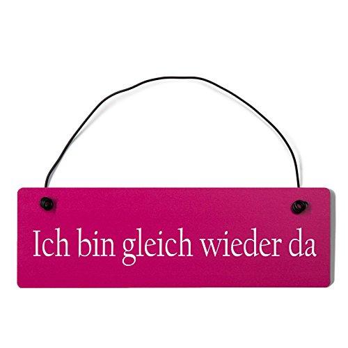 Deko Shabby Chic Schild Ich Bin gleich Wieder da Vintage Holz Türschild in pink mit Draht