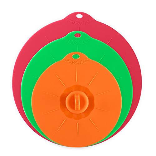 Gativs Coperchi Silicone Set 3 Pezzi Coperchio Silicone Pentola Riutilizzabile Coperchi in Silicone Stretch Coperchi a Ventosa in Silicone Coperchio a Vuoto(3 Dimensioni)