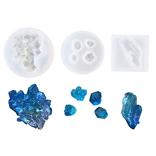 3Pcs Growing Crystal Quartz Rock Resin Silicone Molds Crystal Stone Gravel Casting Molds Jewelry Making Tools for Craft Keychain Necklace Earring Project