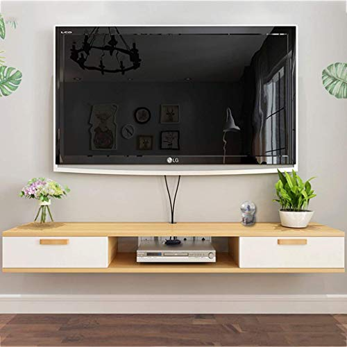 Soporte de Tv Flotante Consola Multimedia de Pared Gabinete de Tv Estante de Almacenamiento Reproductor de Dvd/Blu-Ray Caja de Tv Satelital Caja de Cable, B-S, a, 120×24×16cm