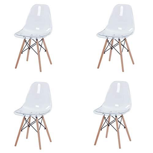 Uderkiny 4er Set Transparente Stühle mit Buchenbeinen geeignet für Esszimmerstühle in der Wohnküche und im Büro (Transparent-4)