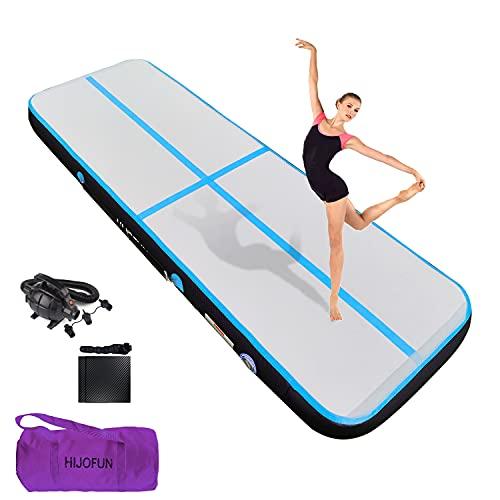 HIJOFUN Air Floor 3M 4M Tapis de Gymnastique Gonflable avec Pompe Pratique et 10/20cm d'épaisseur Pistes d'acrobatie Piste Gonflable Air Mat pour Gymnaste Tumbling Yoga Taekwondo