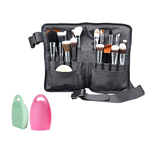 WasonD 32 Pockets Cosmetic Makeup Brush Organizer Belt Bag with Artist Strap for Professional Dresser Apron Brush Holder Waist Bag + 2 Washing Brush Scrubber