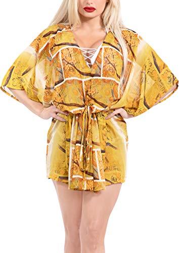 LA LEELA Bohême Imprimé Dress Maillot de Bain Cover Up Femme Tunique Robe de Plage d'été Bikini Cache-Maillots Orange_Y312 XXL-3XL