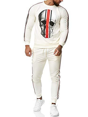 Code47 - Chándal con Capucha para Hombre, diseño de Calavera Blanco S