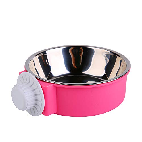 UPSCOOL Crate Dog Bowl, Removable Stainless Steel Hanging Pet Cage Bowl Food & Water Feeder Coop Cup for Cat, Puppy, Birds, Rats, Guinea Pigs,14oz (Pink) Categories