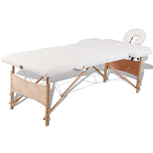 Weilandeal Massagetisch, zusammenklappbar, 2 Zonen Creme, Rahmen aus Holz, langlebiges Kissen, 30 mm, resistent gegen Desinfektionsmittel und Massage-Öl, zusammenklappbar