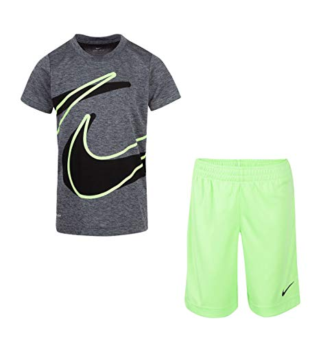 Nike Boy`s Dri-Fit T-Shirt \& Shorts 2 Piece Se (Lime Blast(76E526-F1L)/Black, 3T)