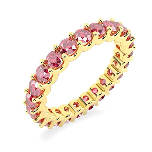 100% Natural 1.50 Carat Diamond Cut Ruby U Prong Set Full Eternity Ring in Yellow Gold Size M