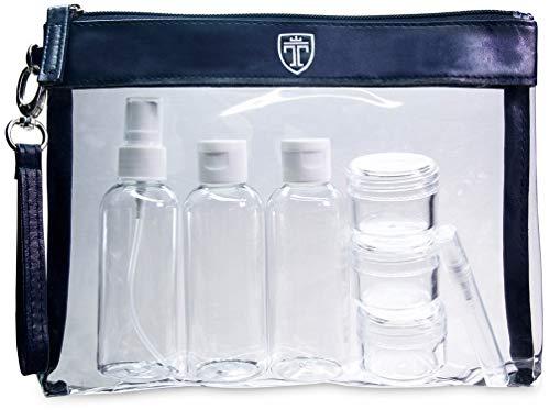 TRAVANDO ® Neceser transparente, 7 envases impermeables (max.100ml) - 1l de capacidad - bolsa de cosméticos, equipaje de mano - transporte de líquidos en el avión, botella set de viaje - hombre, mujer